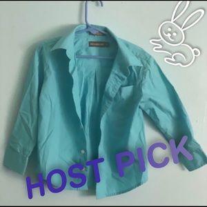 🧸 HP🧸 boy Aqua blue button down dress shirt